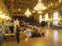 Assembling of the exhibitor's tables in the second hall.